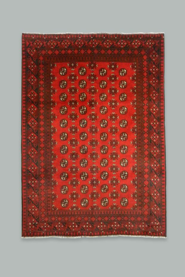 Handmade Red Afghan Carpet 238x166