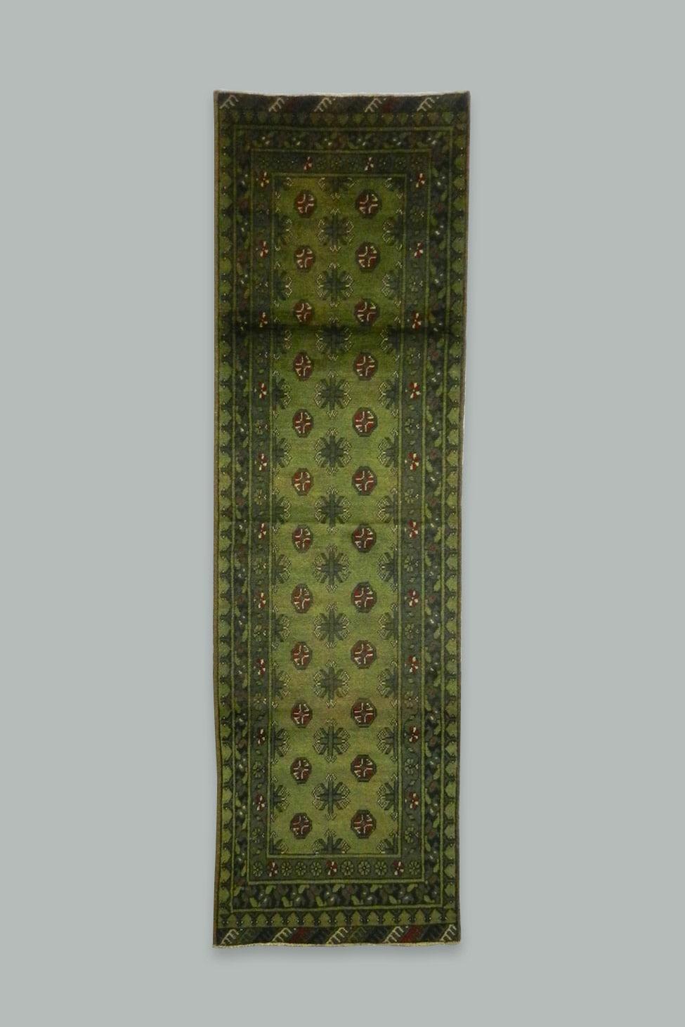 Handmade Green Afghan Runner 290x77